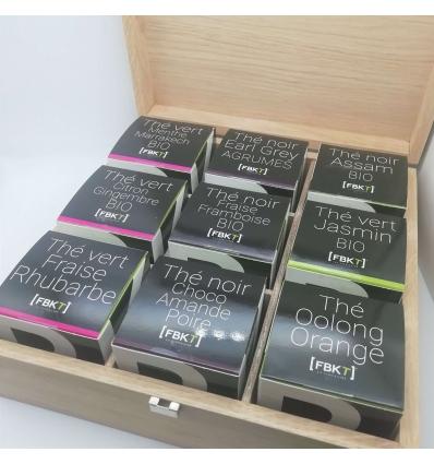 """Coffret bois 9 saveurs collection """"Tea Addict"""""""